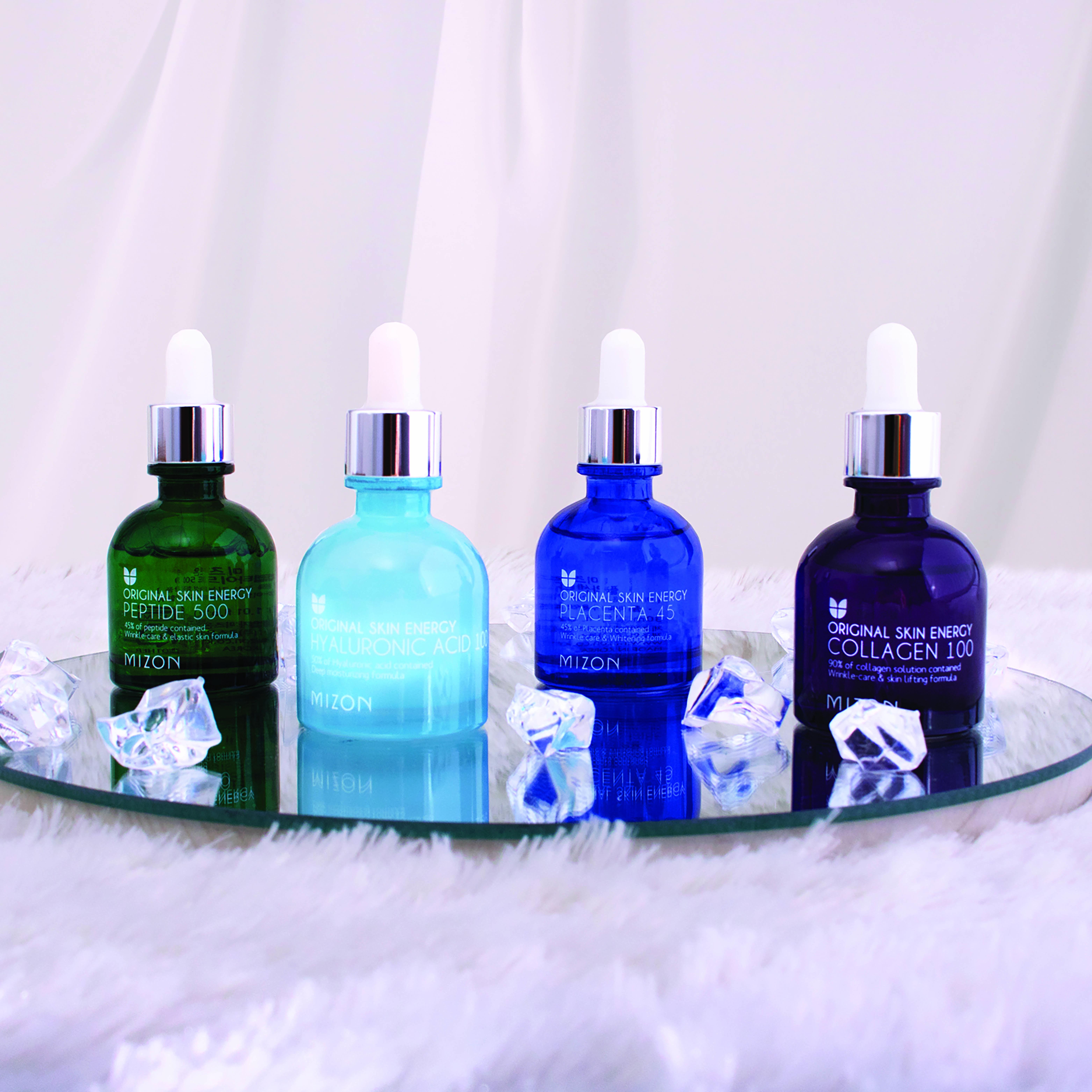 Glass skin essentials exfoliator, gel cream and vitamin