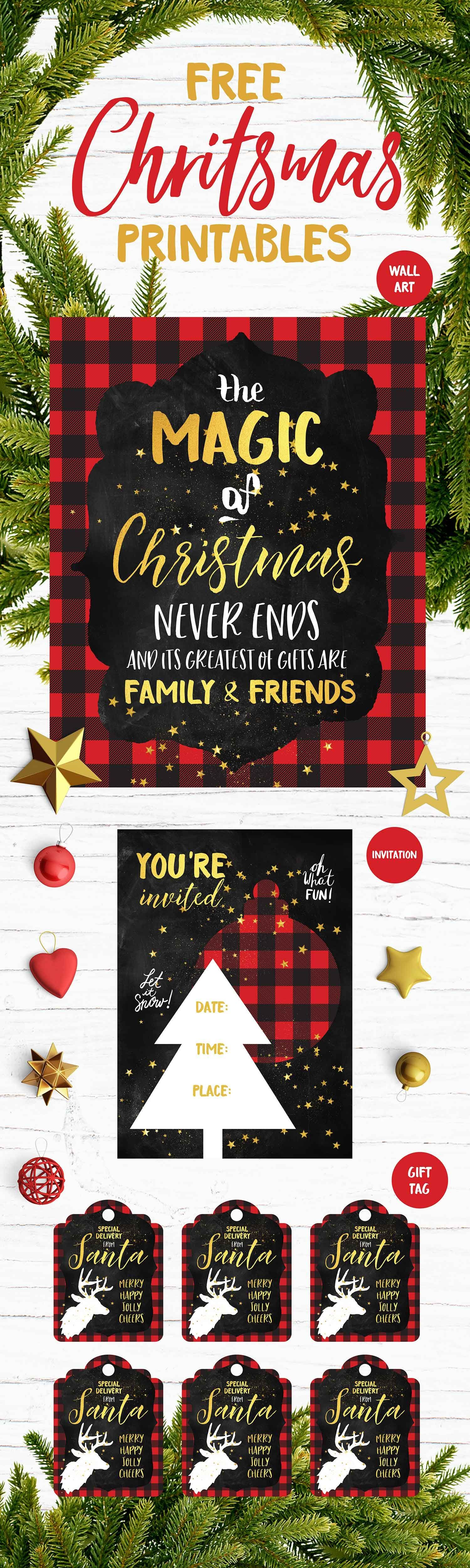 Free Xmas Invitations Alluring Christmas Printables Set  Includes Free Holiday Wall Art Party .