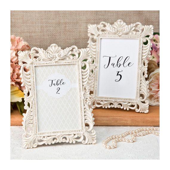 Ivory Table Number Frames Set of 5 - Size 4 x 6 - Gold Leaf Ornate ...
