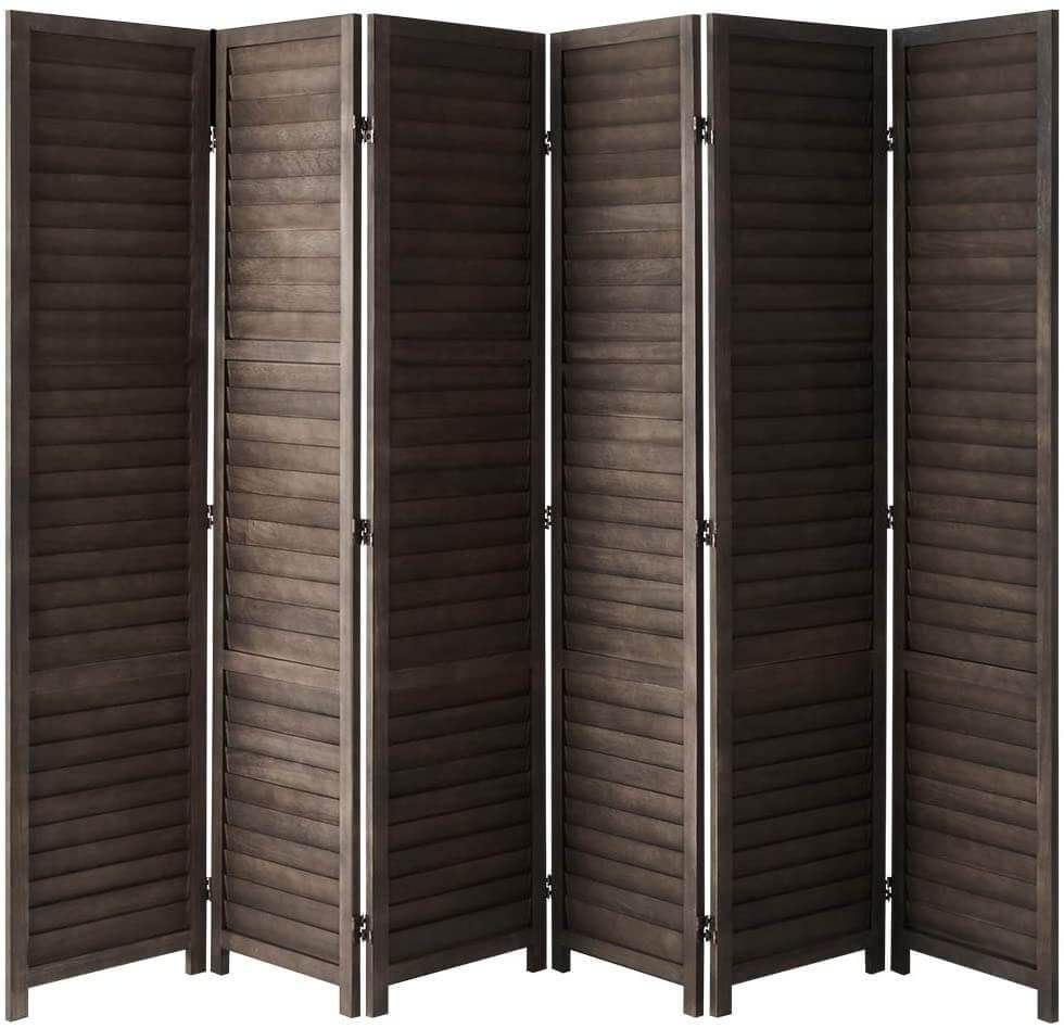 Esright 6 Panel Wood Room Divider 5 6 Ft Tall Folding Privacy Screen Room Divider Freestanding Partition Wall Dividers For Office Bamboo Bedroom Dark Brown In 2021 Wood Room Divider Panel Room Divider Room Divider Privacy screen room divider