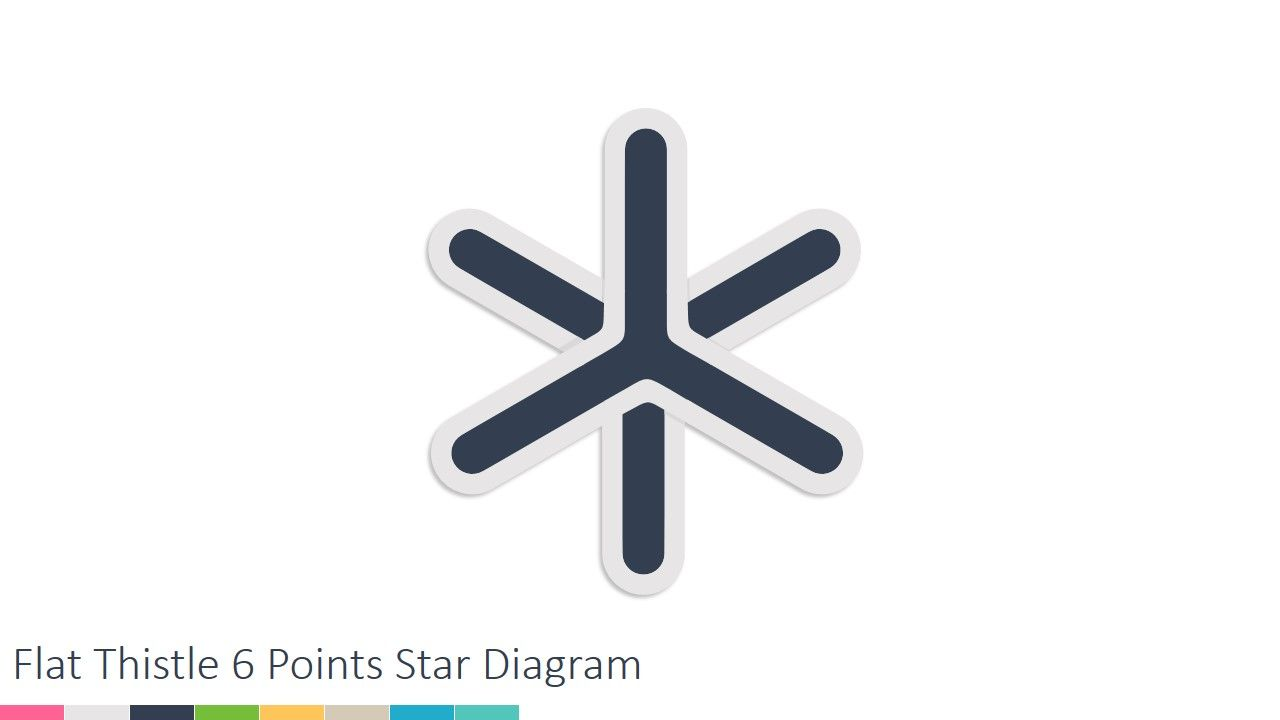 Flat Thistle 6 Points Star Powerpoint Diagram Diagrams Pinterest