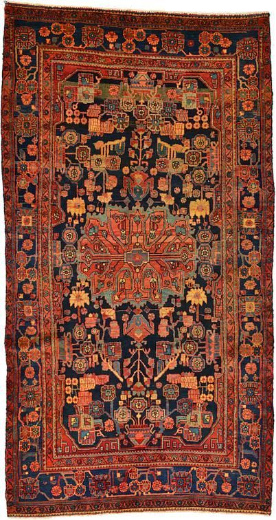 This Semi Antique Authentic Persian Nahavand Rug Is Hand Knotted
