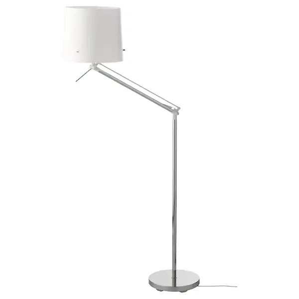 Samtid Floor Reading Lamp Nickel Plated White Ikea Reading