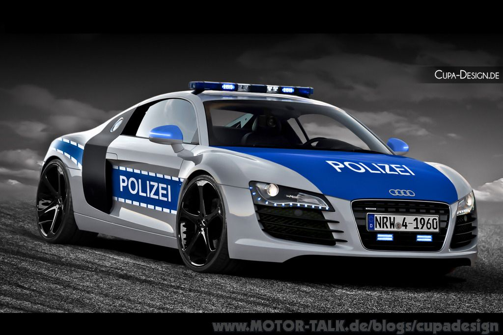 audi r8 polizei kfz deutschland damals heute audi r8. Black Bedroom Furniture Sets. Home Design Ideas