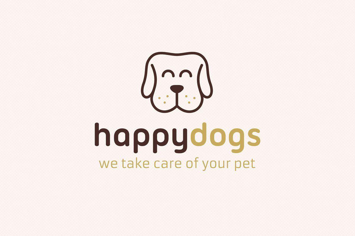 Happy Dog Logo Dog Logo Design Pet Logo Design Happy Dogs