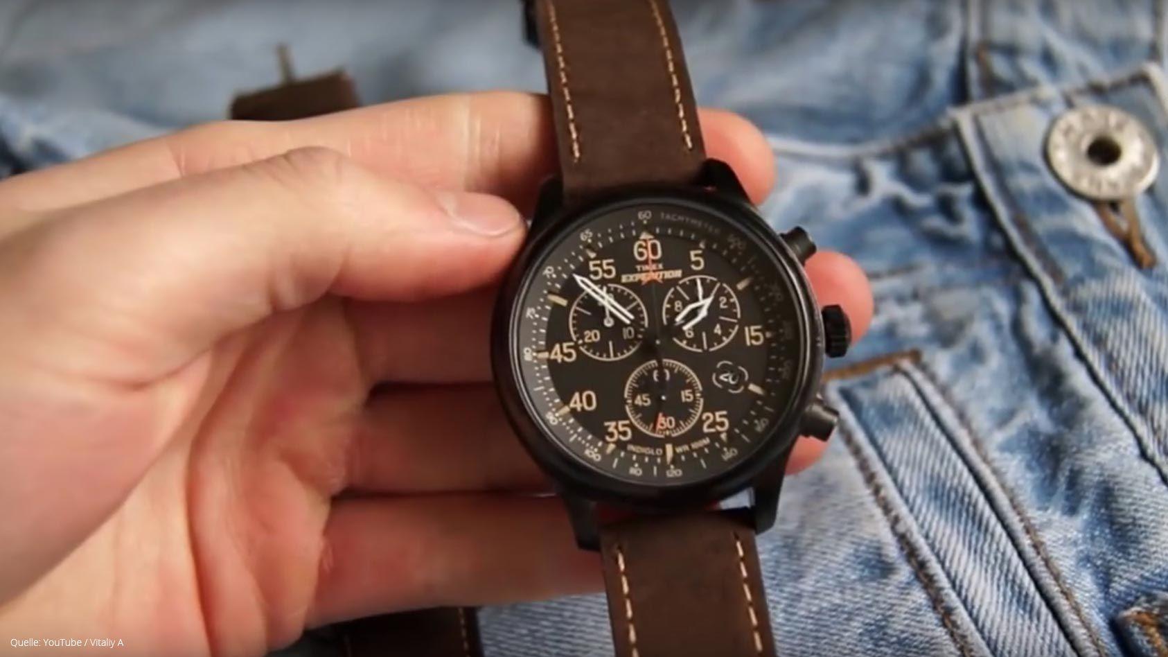 Timex Expedition Field T49905 Herrenuhr Schwarze Outdoor Uhr Mit Tachymeter Und Braunem Lederarmband Herrenuhr Schwarz Uhren Herren Herrenuhren