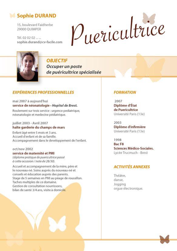 Modele Cv Puericultrice Jpg 584 826 Puericultrice Lettre De Motivation Stage Cv Pour Stage