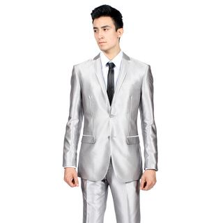 Ferrecci Mens Slim Fit Shiny Silver Sharkskin Suit by Ferrecci