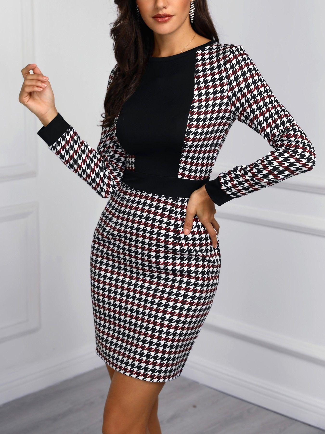 c1901dbdb3ed Houndstooth Insert Tweed sheath Dress in 2019 | Fashion insperation ...