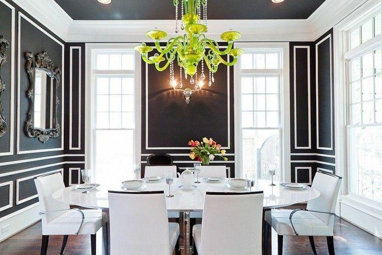 Déco salle à manger noire - atmosphère stylée et dramatique Dining