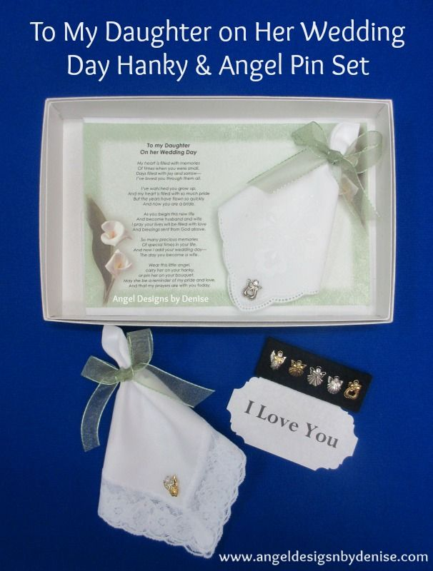 To My Daughter On Her Wedding Day Hankie Angel Pin Set Personalized Hankerchief Wedding Daughter Wedding Gifts Mother Of Bride Gifts