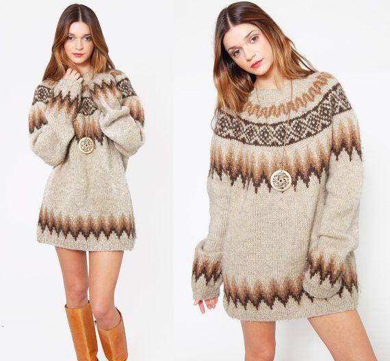 Vintage 70s FAIR ISLE Sweater Wool Oversized Ski Sweater by ...