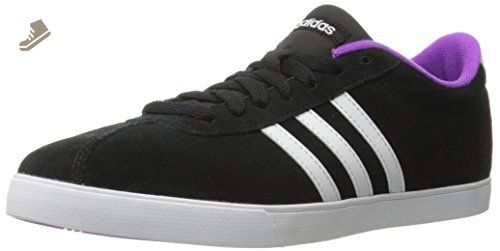 adidas Performance Women\u0027s Courtset w Fashion Sneaker, Black/White/Shock  Purple Fabric,