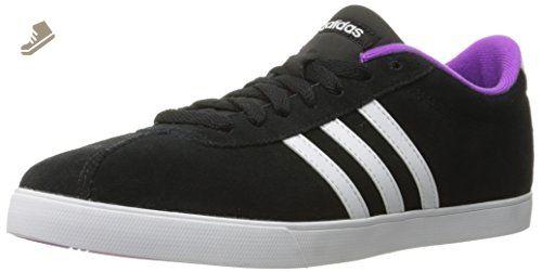 adidas Performance Women\u0027s Courtset w Fashion Sneaker, Black/White/Shock  Purple Fabric,