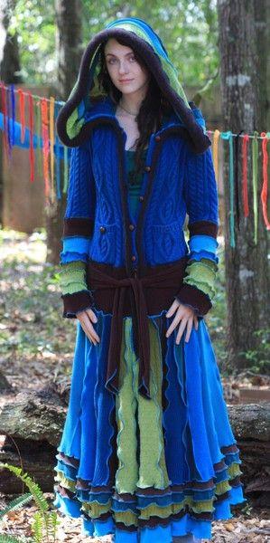 Farb-und Stilberatung mit www.farben-reich.com - Recycled sweater coat, elf, pixie, faery, cashmere, gypsy, vagabond, ragamuffin, patchwork, earth sea sky Goddess