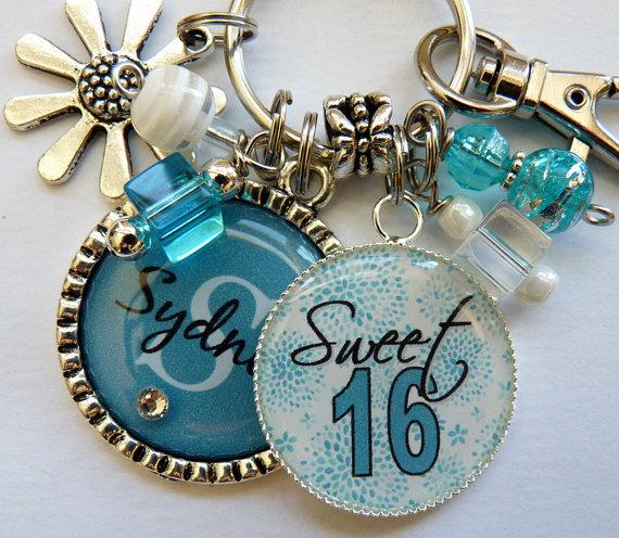 Personalized 2 bezel sweet 16 keychain childrens name by TrendyTz