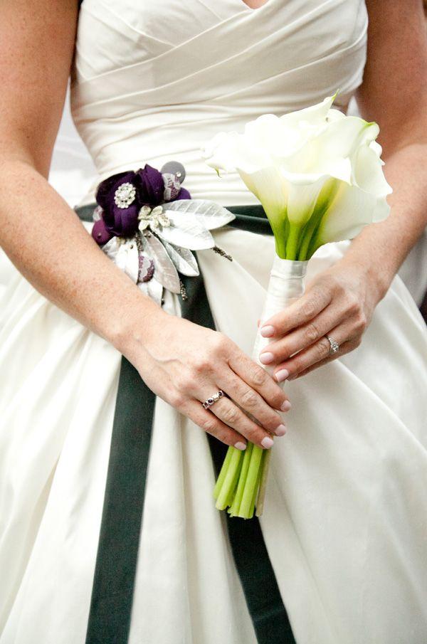 Wedding Dress Belt And Cala Lilies