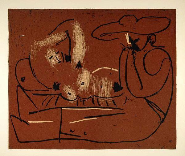 1962 Linocut Reclining Woman Nude Picador Grape Picasso - ORIGINAL PIC1 - Period Paper