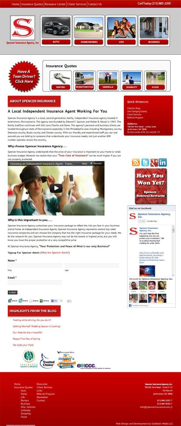 Spencer Insurance Agency, Inc. Web design, Web design