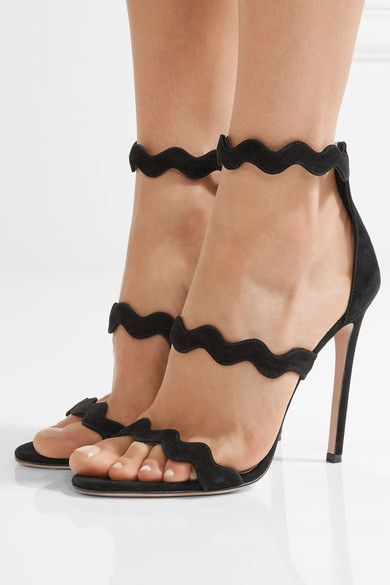 Scalloped Suede Sandals - Black Prada d9VWCq