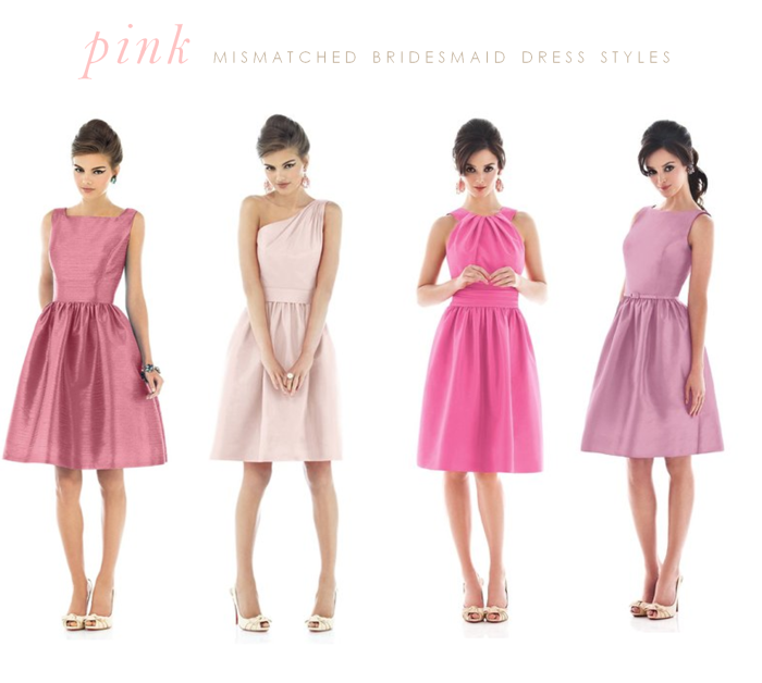 Pink Mismatched Bridesmaid Dresses