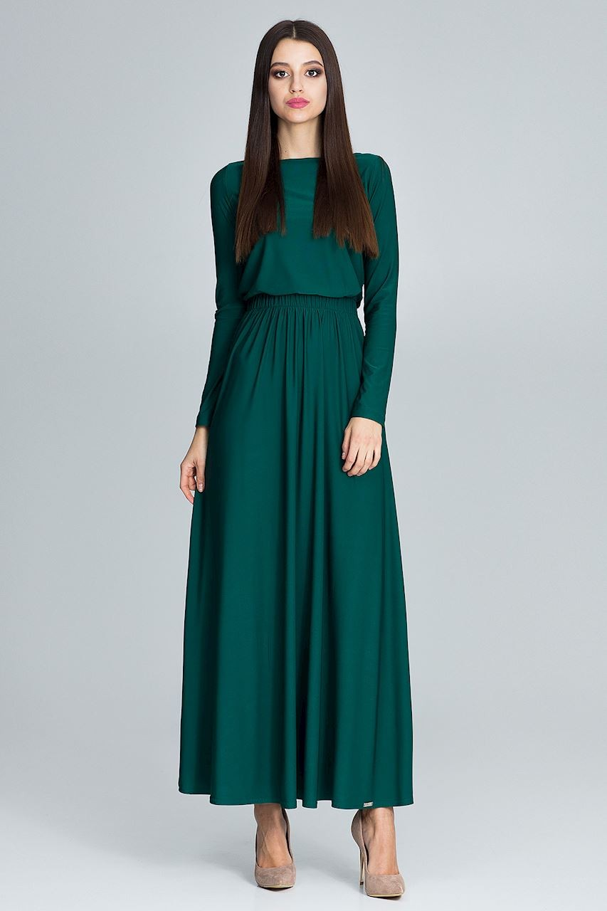 Prosta Dluga Sukienka Z Rekawem Zielona 13sukienek Pl Dresses Fashion Maxi Dress