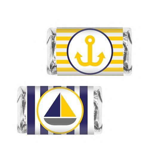 Blue & Gold Nautical Candy Bar Wrappers