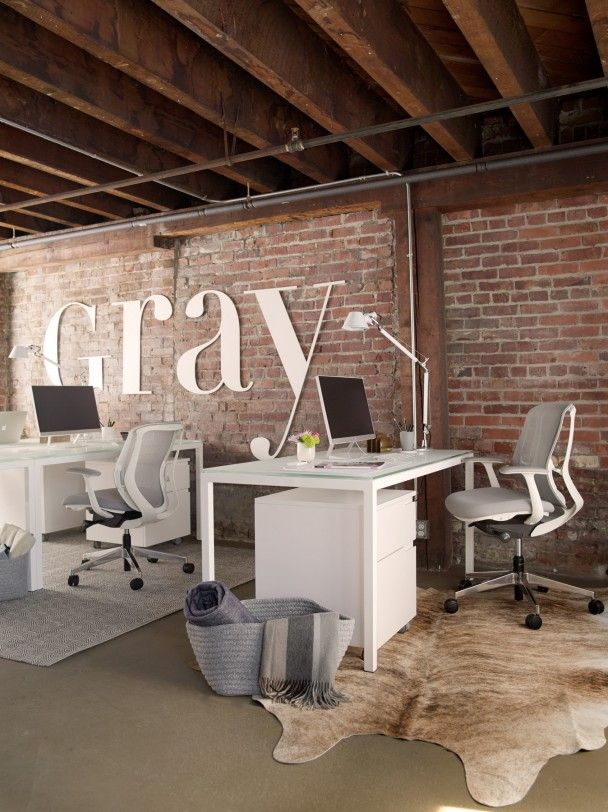 Gray magazine s modern glam office industrial office for Office design publications