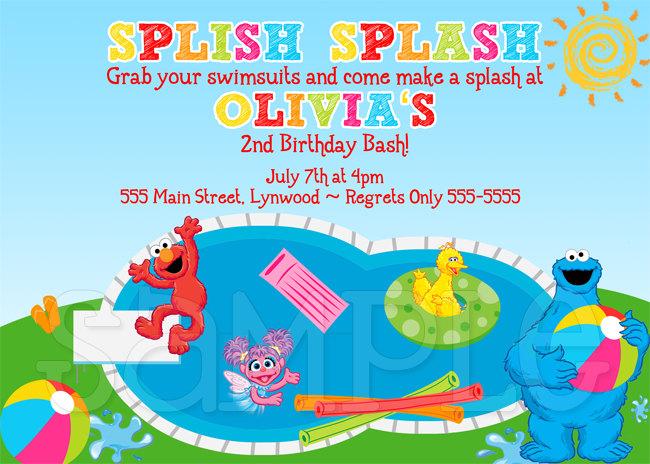 Elmo Pool Party Invitation Party Ideas Pinterest Pool party - birthday invitation swimming party