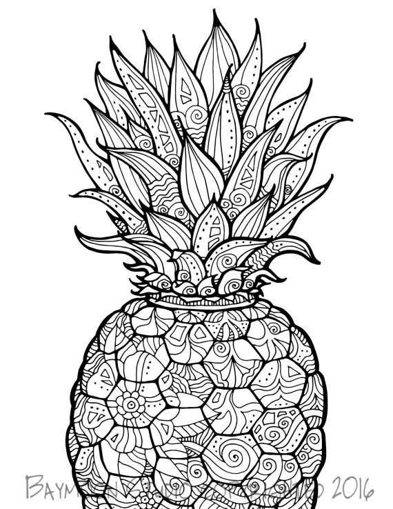 Pin By Lala Dewitt On Pineapple Coloring Pages Fruit Coloring Pages Mandala Coloring Pages Coloring Books