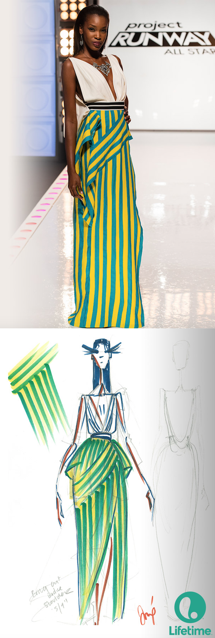 Dom's design and sketch on Project Runway All Stars were both beautiful!