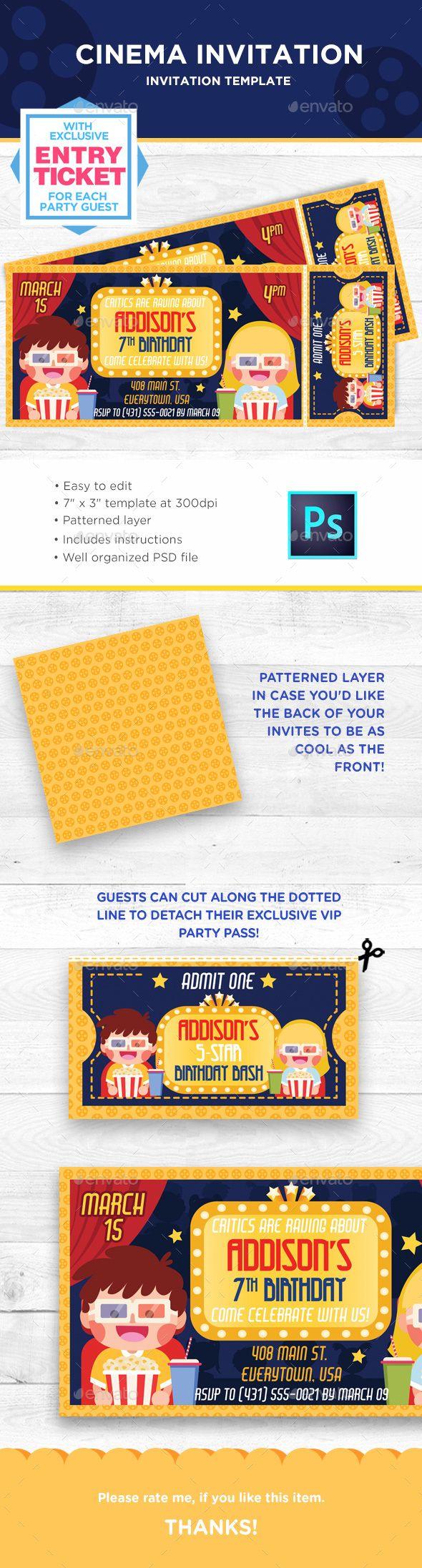 Movie Cinema Birthday Invitation | Invitation card design, Cinema ...