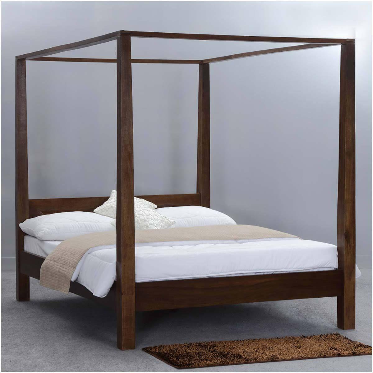 Modern Rustic Philadelphia Solid Wood Platform Canopy Bed Platform Canopy Bed