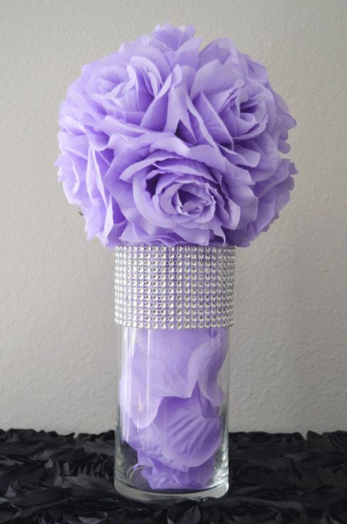 lavender silk flower ball bling glass vase with petals centerpiece rh pinterest com