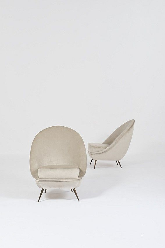Ico Lounge ChairsC1950Things AttributedBrass Legged Parisi SUMpqzV