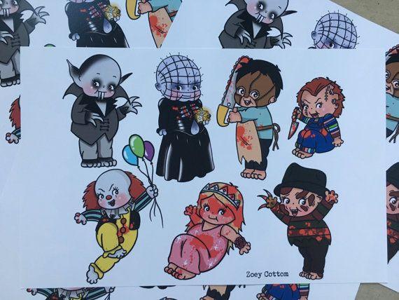 Horror Classics Kewpie Flash Sheet By Zoeycottomart On Etsy Halloween Tattoos Spooky Tattoos Creepy Tattoos