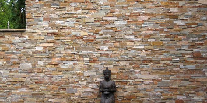 Stonepanel orient oro fachadas pinterest for Piedra para muros exteriores precio