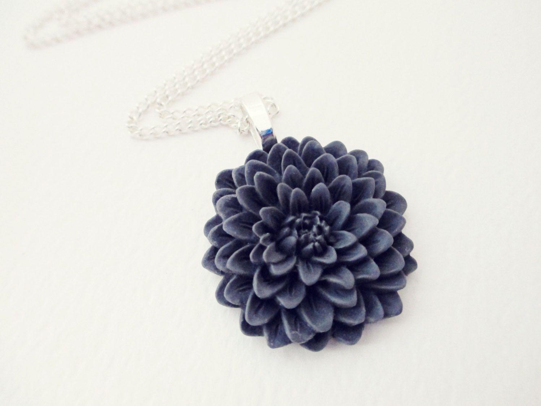 Grey Chrysanthemum Flower Necklace. $14.00, via Etsy.