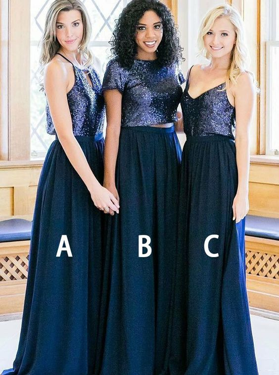 Two Piece Navy Chiffon And Sequins Long Bridesmaid Dresses Under 100