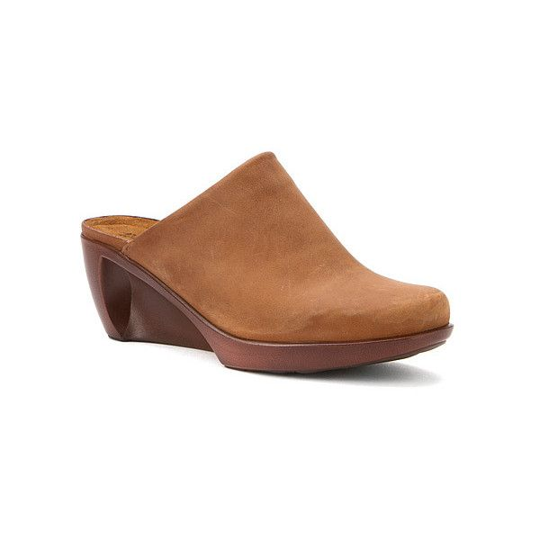 Naot Evening (205 CAD) ❤ liked on Polyvore featuring shoes, clogs, clogs & mules, open-back clogs, saddle brown leather, women's, round cap, evening wedge shoes, clogs mules and platform clogs