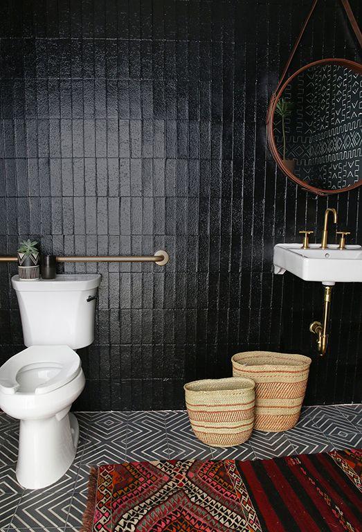 tribal black bathroom home garden decorating office bathroom rh pinterest com