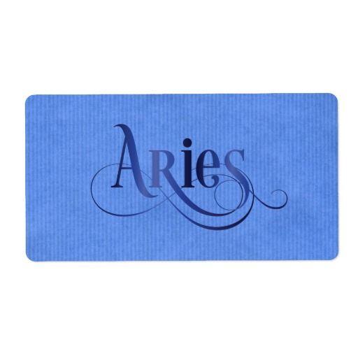 Swirly Script Zodiac Sign Aries Blue Kraft Label Shipping label - shipping label