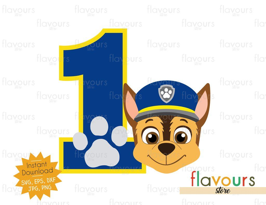 Number 1 Chase Paw Patrol Instant Download Svg Files Chase Paw Patrol Paw Patrol Paw