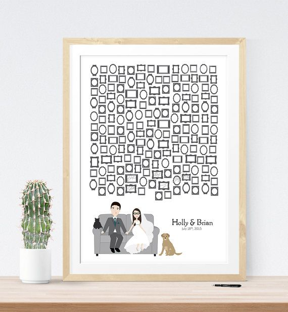 Wedding Guest Book Alternative Print Picture Frame Guestbook Poster Pets Unique Sign