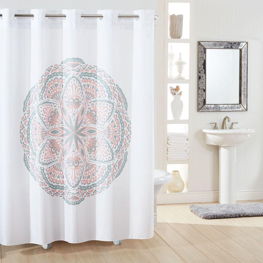 Hookless Medallion Shower Curtain Liner White 71x74 Hookless