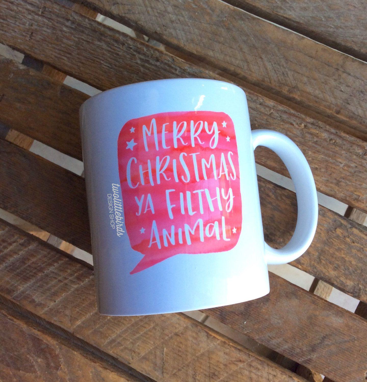 Merry Christmas Ya Filthy Animal Mug   Gift   Christmas Mug   Novelty Mug    Quote Mug   Christmas Movie   Christmas Coffee Mug   Home Alone