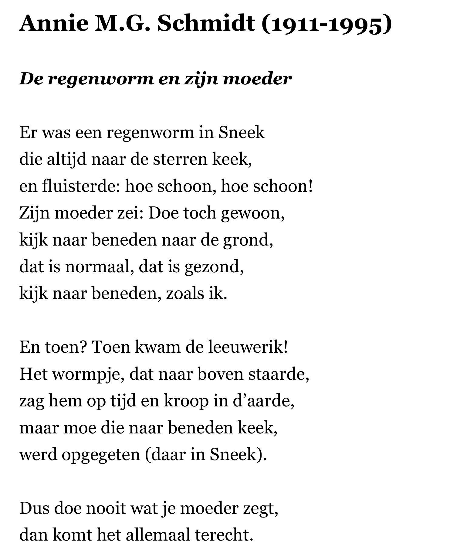 Fabulous Gedicht Annie M G. Schmidt De regenworm | poëzie - Kids poems #PJ42