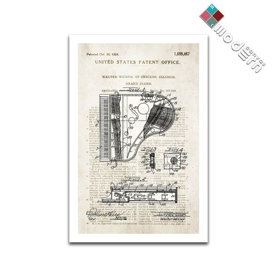Grand piano patent art giclee on archival matte paper grand pianos grand piano patent art giclee on archival matte paper malvernweather Images