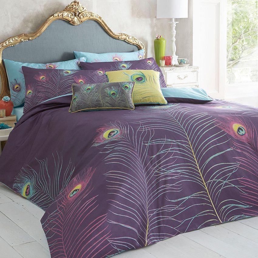 Purple 39 Peacock 39 Bedding Set Duvet Covers Pillow Cases Bedding Home Furniture