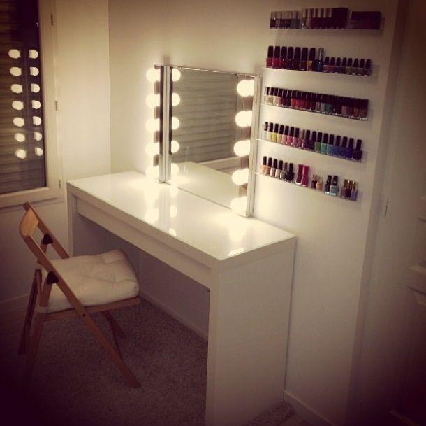 light up mirror and nail polish shelves salon room decor nail rh pinterest com